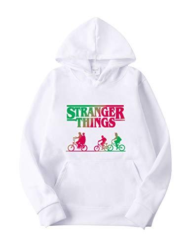 Sweat Stranger Things Femme, Pull Stranger Things Fille Homme Enfants Garçon Saison 3 Unisexe Sweat-Shirt a Capuche Hooded Imprimé Hoodie Gilet Sportif Sweat Shirt (Blanc,S)