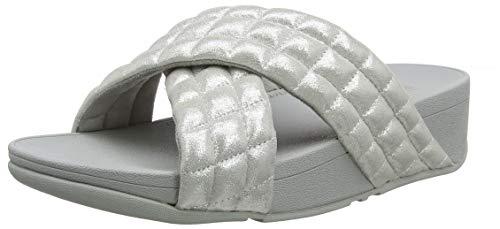 FitFlop Lulu Padded Shimmy Suede Slides, Sandalias de Punta Descubierta para Mujer, Plateado (Silver 011), 43 EU
