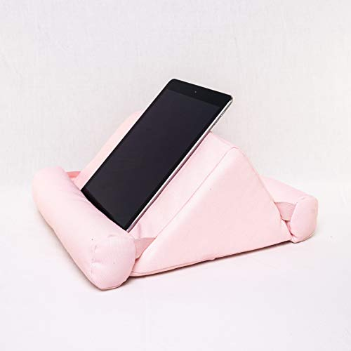 The ComfView Tablet Pillow - Soft Bed Stand Compatible with iPads, Tablets, Books, Smartphone, Magazines - Lap Wedge Mount for Reading, Gadgets, Watching Movies - 11x12x6-Inch (Pink)