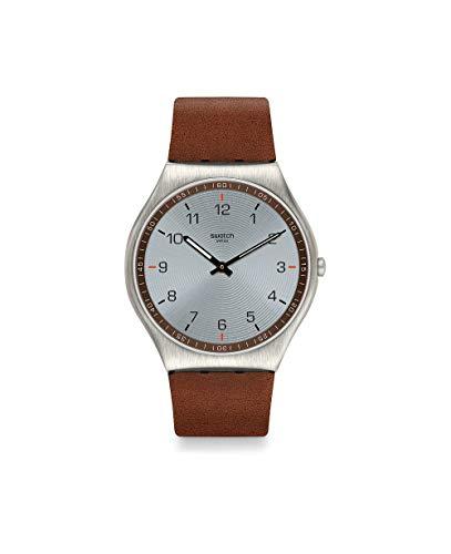 Swatch Reloj Unisex Adulto de Cuarzo analógico con Correa en Cuero Genuino SS07S108