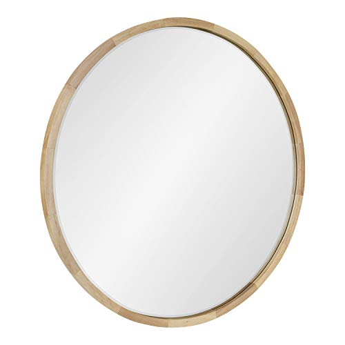 Kate and Laurel McLean Mid-Century Wood Framed Wall Mirror, 30 inch Diameter, Natural, Decorative Modern Round Mirror