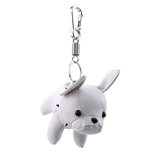 ZALING Persönlichkeit Pu Leder Französisch Bulldogge Geformte Schlüsselbund Cartoon Hund Schlüsselanhänger Frauen Tasche Schmuck Anhänger Zubehör, Weiß