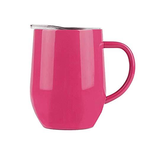 LRWEY - Taza de café portátil compatible con cafetera de oficina, autoadhesiva, acero inoxidable, taza de viaje y vasos, acero inoxidable, hot pink, 12 onzas