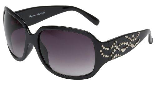 Schöne Marken Sonnenbrille für Damen von Burgmeister mit 100% UV Schutz   Sonnenbrille mit stabiler Polycarbonatfassung, hochwertigem Brillenetui, Brillenbeutel und 2 Jahren Garantie   SBM113-231