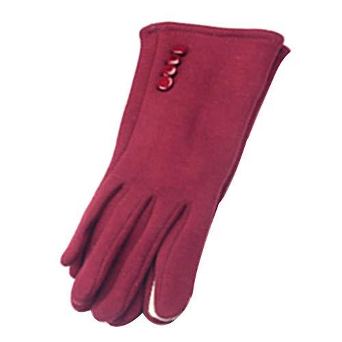 ENticerowts Guantes de invierno para mujer al aire libre cálido pantalla táctil guantes color sólido guantes de dedo completo para uso diario, jardinería, constructores, mecánicos rojo