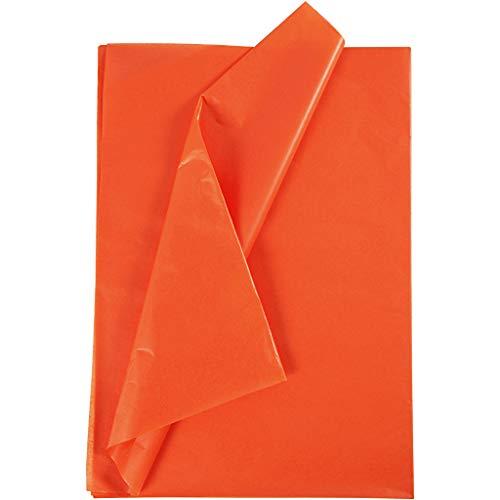 Papel de seda, hoja 50 x 70 cm, 17 cm, naranja, 25 hojas