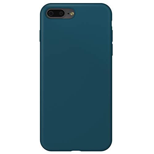 ZhinkArts Funda de silicona para teléfono móvil compatible con Apple iPhone 7 Plus/8 Plus, pantalla de 5,5 pulgadas, carcasa con forro de microfibra, color azul petróleo