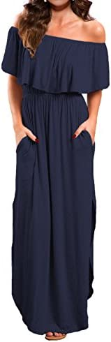 VERABENDI Women s Off Shoulder Summer Casual Long Ruffle Beach Maxi Dress with Pockets Navy product image