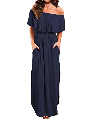 VERABENDI Women's Off Shoulder Summer Casual Long Ruffle Beach Maxi Dress with Pockets Navy M