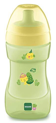 MAM Sports Cup drinkbeker met automatische deksel, lekvrije drinkbeker voor baby's met debietregelklep, eenvoudig vast te pakken, 12 maanden lang, groen