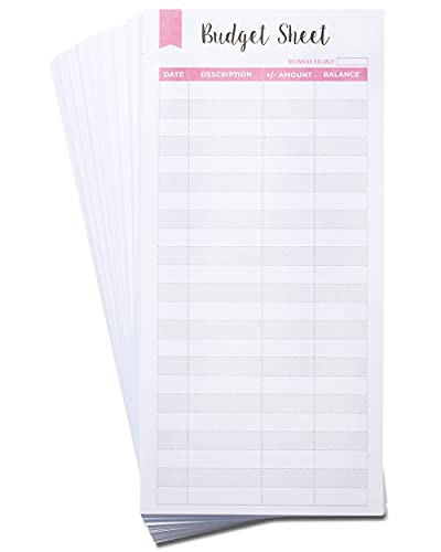 Lamare Set of 60 Expense Tracker Budget Sheets I Money Organizer for Cash & Ledger Book - Use with Cash Envelopes for Budgeting, Budget Envelopes, Cash Envelope Wallet, Budget Planner, Bill Organizer