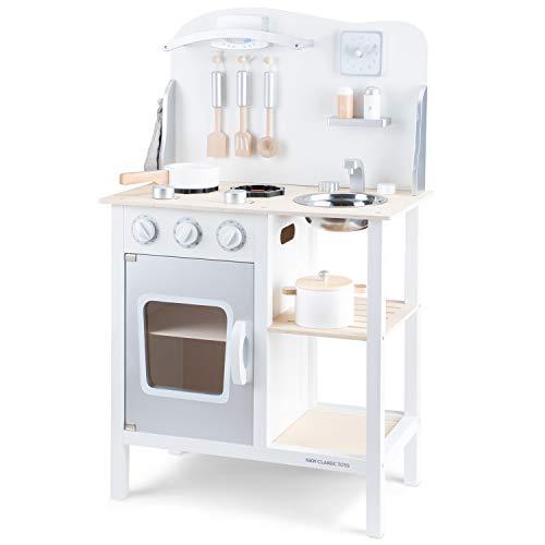 New Classic Toys Toys-11053 Kitchenette-Bon Appetit-White/Silver, Color Blanco (11053)