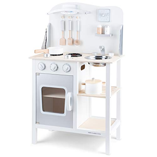 New Classic Toys Toys-11053 Kitchenette-Bon Appetit-White/Silver, Color Blanco (11053)