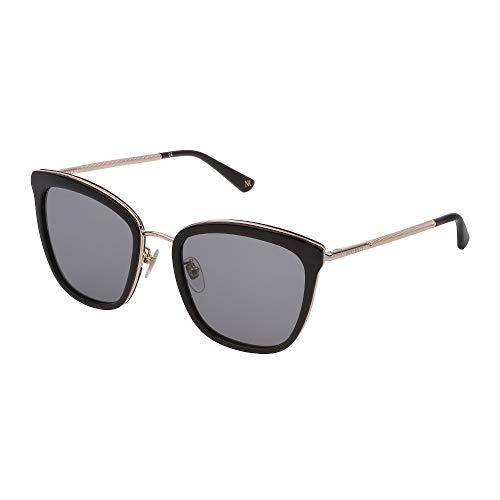 Nina Ricci SNR215 0700 55-20-140 - Gafas de sol para mujer, oro negro brillante, lentes ahumadas