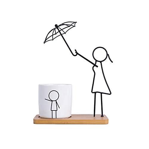 Macetas para interiores, para padres e hijos, serie de temas de cerámica, plantas modernas, suculentas, macetas, agujero de drenaje con bandeja de bambú para decoración de...