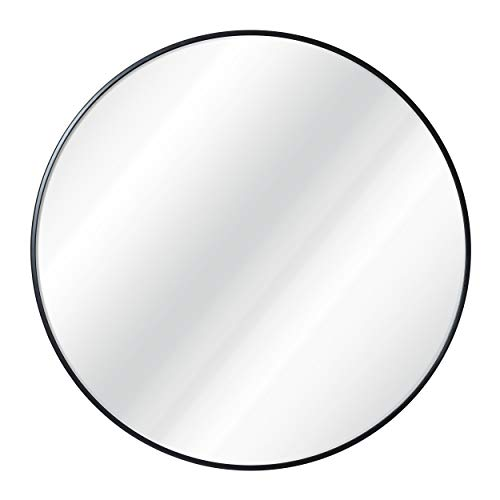 Black Circle Wall Mirror 30 Inch Black Round Wall Mirror for Entryways, Washrooms, Living Rooms - Metal Black Round Mirror for Wall, Vanity Mirror Large Circle Wall Mirror