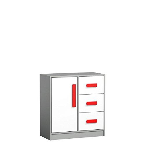 Mirjan24 Kommode Git G07 mit 3 Schubladen, 1 Tür, Mehrzweckschrank Sideboard Schubladenkommode für Jugendzimmer, Highboard (Anthrazit/Weiß + Rot)
