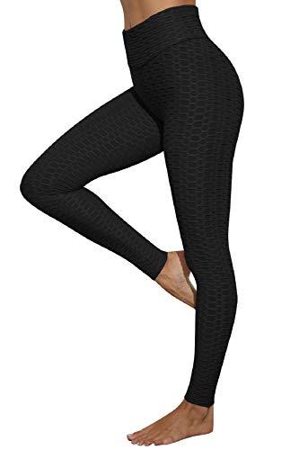 Voqeen Damen Sport Leggings Slim Fit Yogahosen Anti-Cellulite Hohe Taille Push UP Blickdicht Yogaleggings Fitness Bauchkontrolle Butt Lifter Lange Hosen Laufhose(Schwarz, S Slim)
