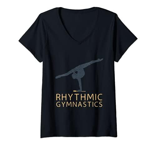 Mujer Gimnasia rítmica deportiva, gimnasia rítmica, gimnasia rtmica rtmica Camiseta Cuello V