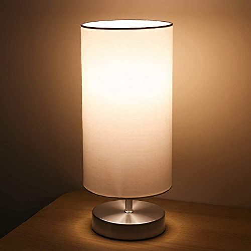 Lámpara Mesilla de Noche, Lámpara de Mesa, Luz Nocturna LED Moderna para Dormitorio, Sala de Estar Habitación para Niños, Oficina, Pantalla cilíndrica de tela blanca(Bombilla Blanca incluida)