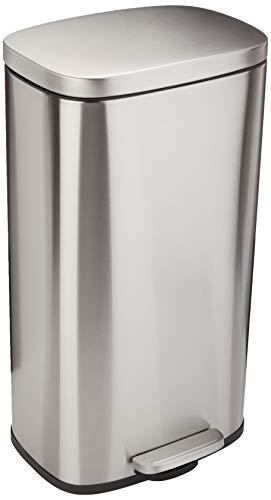Amazon Basics Rectangle Soft-Close Trash Can - 30L, Satin Nickel