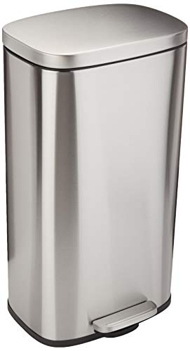Amazon Basics Rectangle Soft-Close Trash Can - 30L, Satin Nickel