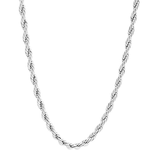 Surgical Stainless Steel 4mm Twist Rope Chain Necklace, 22