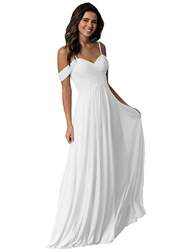 Elleybuy Sweetheart Neckline Bridesmaid Dresses,Off Shoulder Fromal Dress for Women White