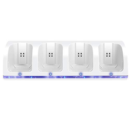 Jevogh Wii Ladestation für Wii Controller, GR53 Wii 4 in 1 Wii Ladegerät + 4 wiederaufladbare Batterien für Nintendo Wii Fernbedienung - Weiß Dritteranbieter Produkt