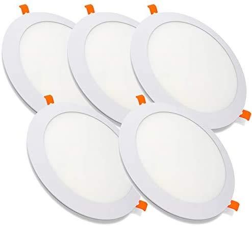 Pack de 5 Paneles LED Downlight Redondo Plano 20W Blanco De Empotrar 220mm 6000K Luz Blanca Fría [Clase de eficiencia energética A++]