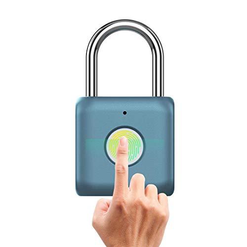 BOREAD Fingerprint Padlock, Smart Keyless Lock for Locker, Backpack, Suitcase, Travel Luggage,Cabinet, Drawer, Indoor, Portable USB Rechargeable (Blue)