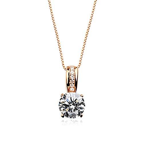 K.L.Y レディース ネックレス ダイヤモンドCZ 1粒 4本爪 ネックレス 最高級 18金RGP (ピンクゴールド) ギフト包装