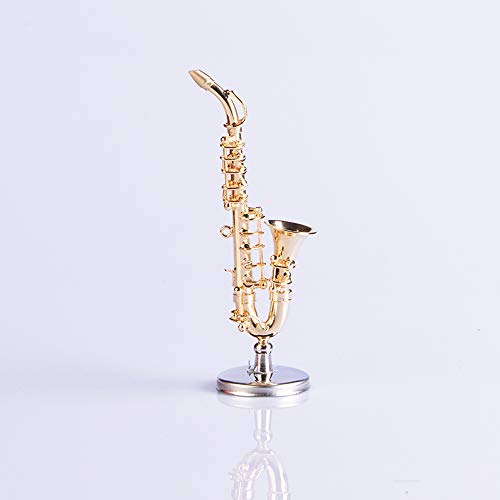 M4MUSIC Mini Copper Alto Saxophone Sax Model Collectible Miniature Dollhouse Music Instrument Miniature Replica Saxophone with Stand and Case --- 3.5 Inches
