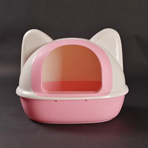 JYZT Forma di Testa di Gatto antispruzzo E Deodorante lettiera per Gatti Bacino Toilette per Gatti Semi Chiusa Removibile Facile da Pulire con Pala per Lettiera 2 Colori Pink