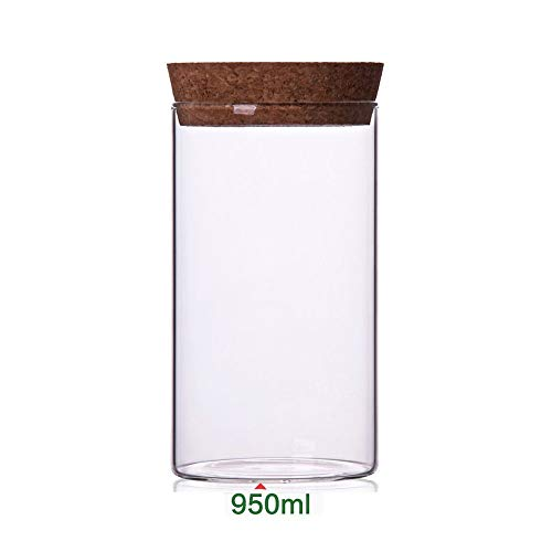 Newerlives Air Tight Storage Jar, Glass Storage Tank with a Natural Bamboo Lid, 450 ML, 650 ML, 950 ML (Cork, 950ML)