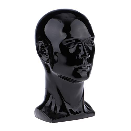 Amagogo Estante Del Soporte de Exhibición de Los Vidrios de La Peluca Del Sombrero Del Modelo de La Cabeza Del Maniquí Masculino Independiente - Negro mate