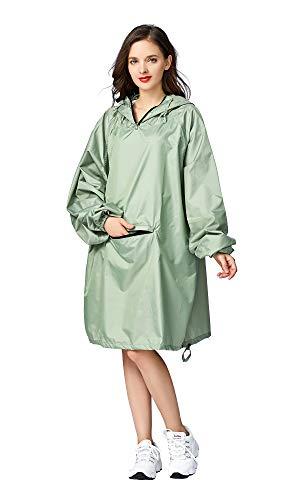 Women Men Rain Jacket Coat Waterproof Raincoat with Hood Sleeves and Big Pocket on Front (Green, One Size)
