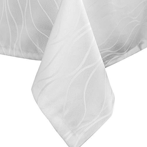 EUGAD Tovaglie Decorative Copritavolo Idrorepellente Elegante Tovaglia Piazza Impermeabile Anti Macchia per Casa Ristorante Bar caffè Bianco 130×300 cm 0173ZB
