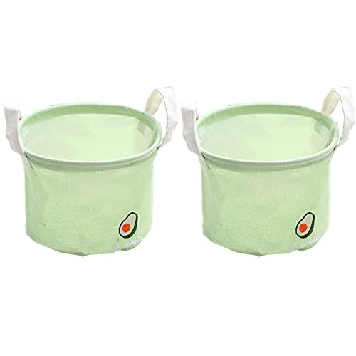 Onlyup Juego de 2 organizadores de almacenamiento, plegables, redondos, pequeños, resistentes al agua, 20 x 15 cm (verde)