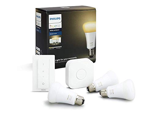 Philips Hue White Ambiance - Kit de 3 bombillas LED E27 con puente y mando, 9 W, iluminación inteligente, regulable, compatible con Amazon Alexa, Apple HomeKit y Google Assistant