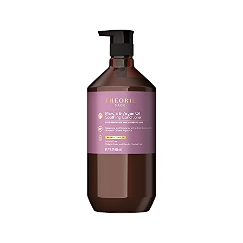 THEORIE Marula and Argan Oil Soothing Conditioner - Rejuvenate & Moisturize - Suited for Over-Processed & Distressed Hair - Sulfate Free - Protects Color and Keratin Treated Hair, Pump Bottle 800mL
