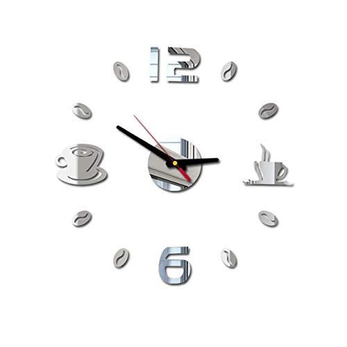 Cafe DIY große Wanduhr rahmenlose riesige Wanduhr modernes Design Cafe Kaffeebecher Kaffeebohne Wanddekoration Küchenwanduhr