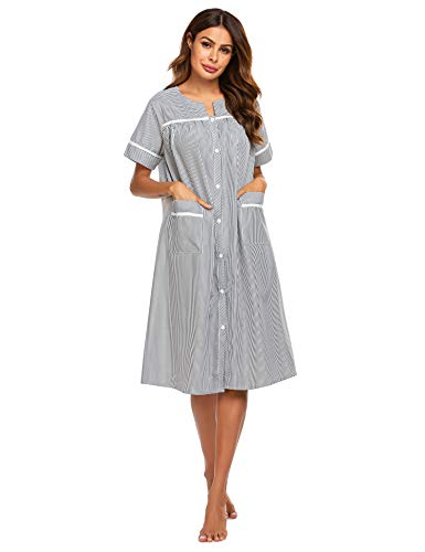 Ekouaer Cotton Housecoat for Women Button Down Nightgowns Striped Duster Robe with Pockets (Black,L)