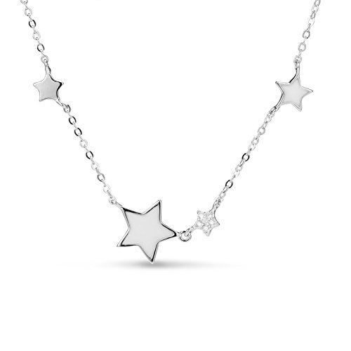 SHEGRACE 925 Sterling Silver Necklace for Woman with Enamel Stars Pendant, Platinum/Rose Gold/Gold, 400mm, Jewelry for Women Gift for Christmas Valentine's Day