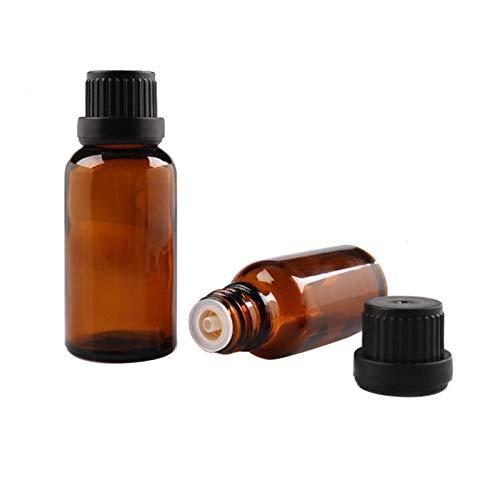 NLLeZ 1 unids 5 ml / 10 ml / 15 ml / 20 ml Vacío de Vidrio de Color marrón ámbar de Vidrio Euro Euro Botellas de Aceite Esenciales Aceite líquido Aromaterapia Pipetija Viales Contenedores