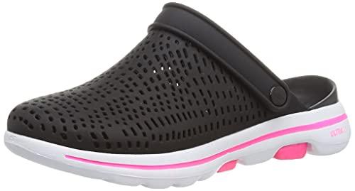 Skechers Women's GO Walk 5 Clog, Black/White, 8