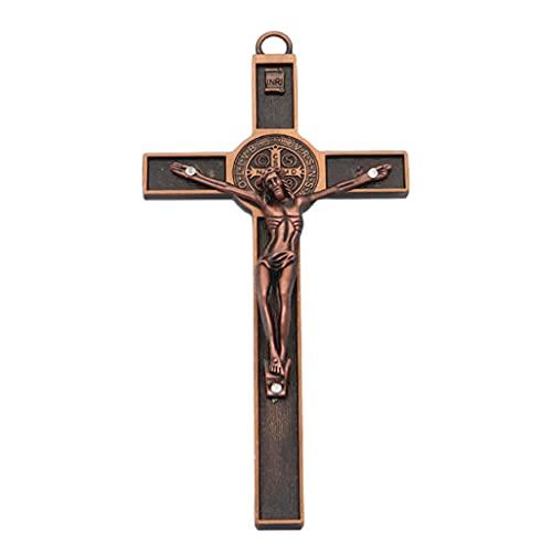 KerDejar Colgante de cruz católica de Jesús, colgante de coche religioso con crucifijo de pared rojo
