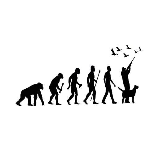 MDGCYDR Pegatinas Coche Graciosas 16 Cm * 8 Cm Pegatinas Coche Graciosas Hunter Evolution Hunter Y Perro Pato PVC Calcomanía Accesorios Divertido Coche Pegatina Creativa Impermeable Negro/Blanco