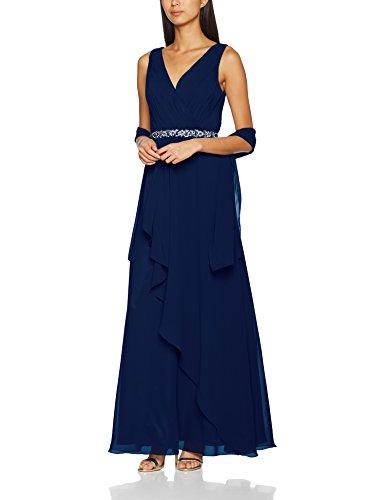 Mascara Damen Party- & Abendkleider Cross Front Pleat Maxi, blau (marineblau), Gr. 46...