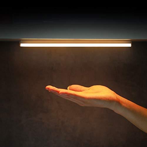 LED bajo gabinete de cocina plana luz del sensor, iluminación del gabinete LED con detector de movimiento, USB recargable, la luz del gabinete para el mostrador, armario, cajón, pasillo,Amarillo,106mm
